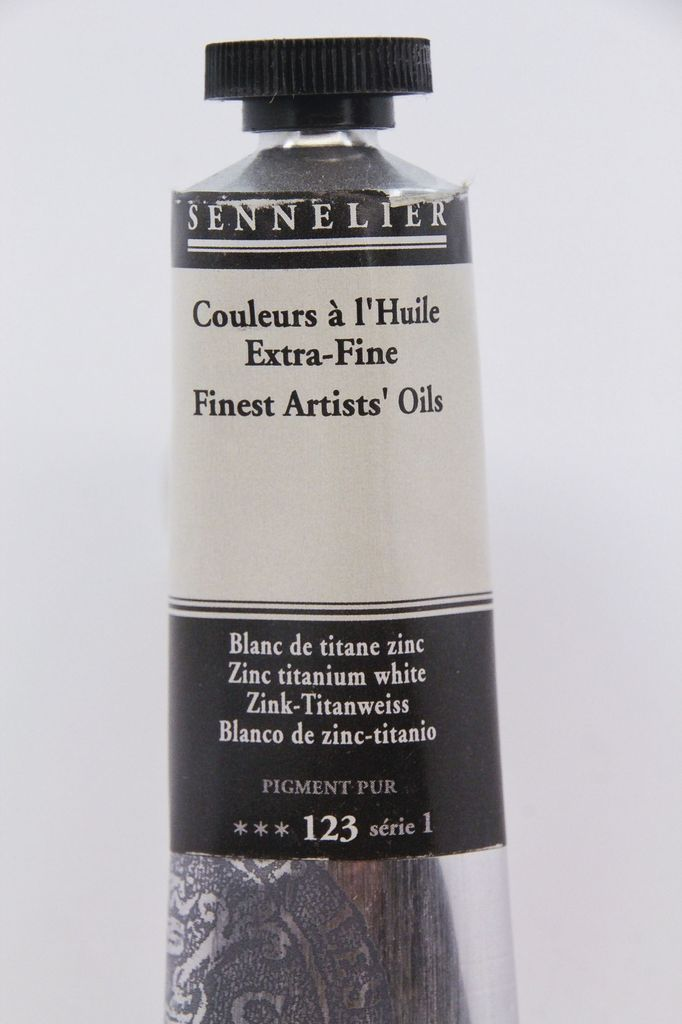 France Sennelier, Fine Artists' Oil Paint, Zinc Titanium White, 123, 40ml Tube, Series 1