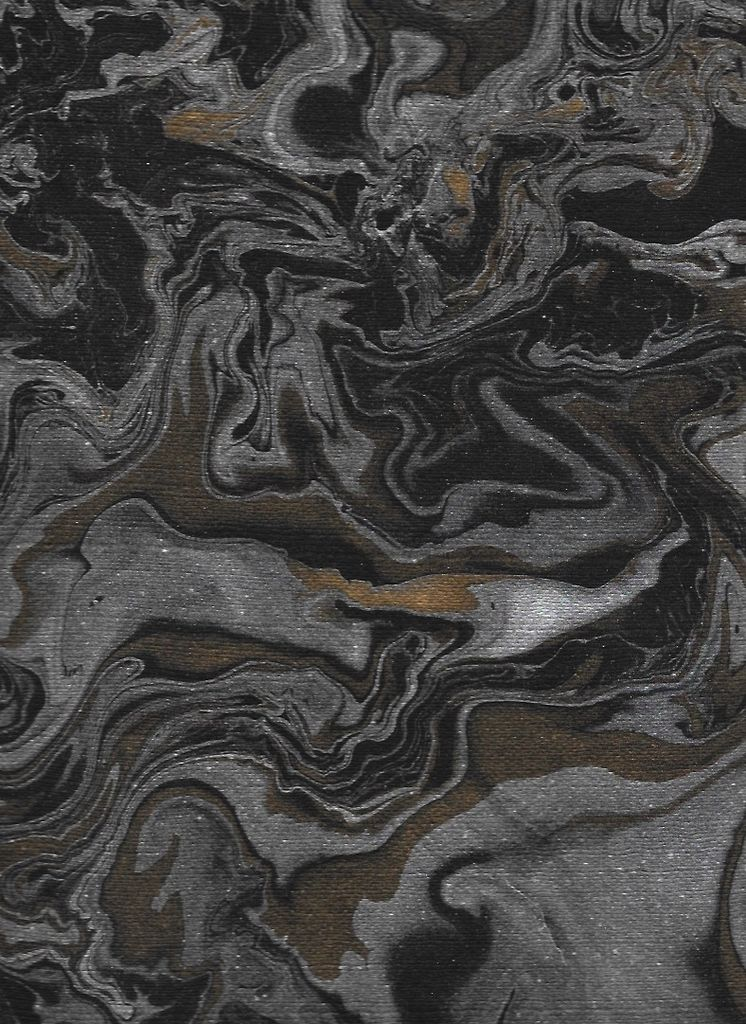 """India Indian Marble, Turkish Design, Black with Gold and Silver, 22"""" x 30"""""""