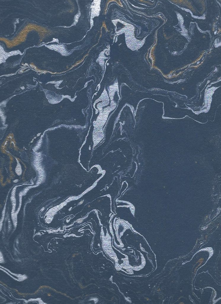 "India Indian Marble, Blue with Gold and Silver, Turkish Design, 22"" x 30"""