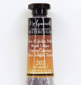 France Sennelier, Aquarelle Watercolor Paint, Burnt Umber, 202,10ml Tube, Series 1