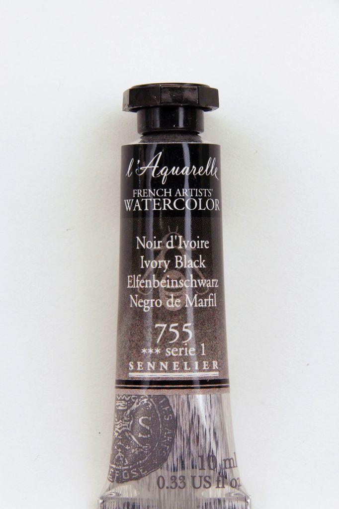 France Sennelier, Aquarelle Watercolor Paint, Ivory Black, 755,10ml Tube, Series 1