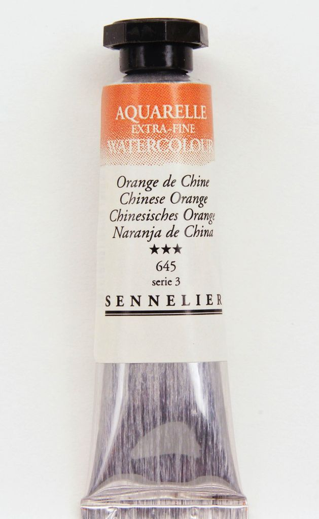 France Sennelier, Aquarelle Watercolor Paint, Chinese Orange, 645,10ml Tube, Series 3