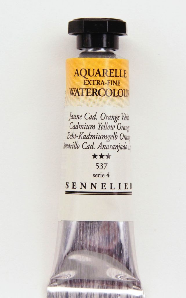 France Sennelier, Aquarelle Watercolor Paint, Cadmium Yellow Orange, 537,10ml Tube, Series 4