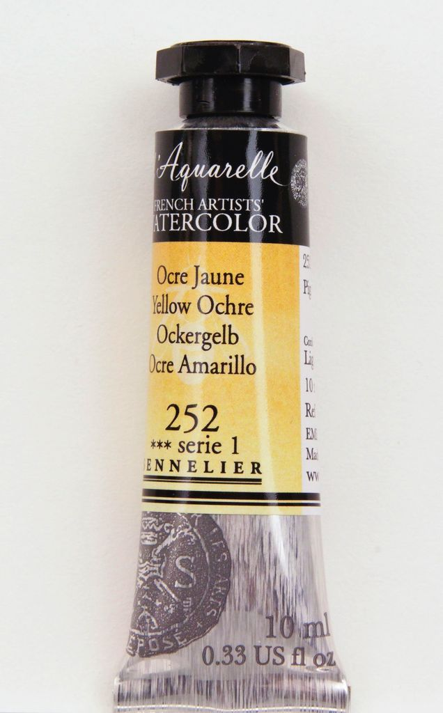 France Sennelier, Aquarelle Watercolor Paint, Yellow Ochre, 252,10ml Tube, Series 1