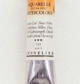 France Sennelier, Aquarelle Watercolor Paint, Cadmium Yellow Deep, 533,10ml Tube, Series 4