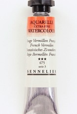 France Sennelier, Aquarelle Watercolor Paint, French Vermilion, 675,10ml Tube, Series 3