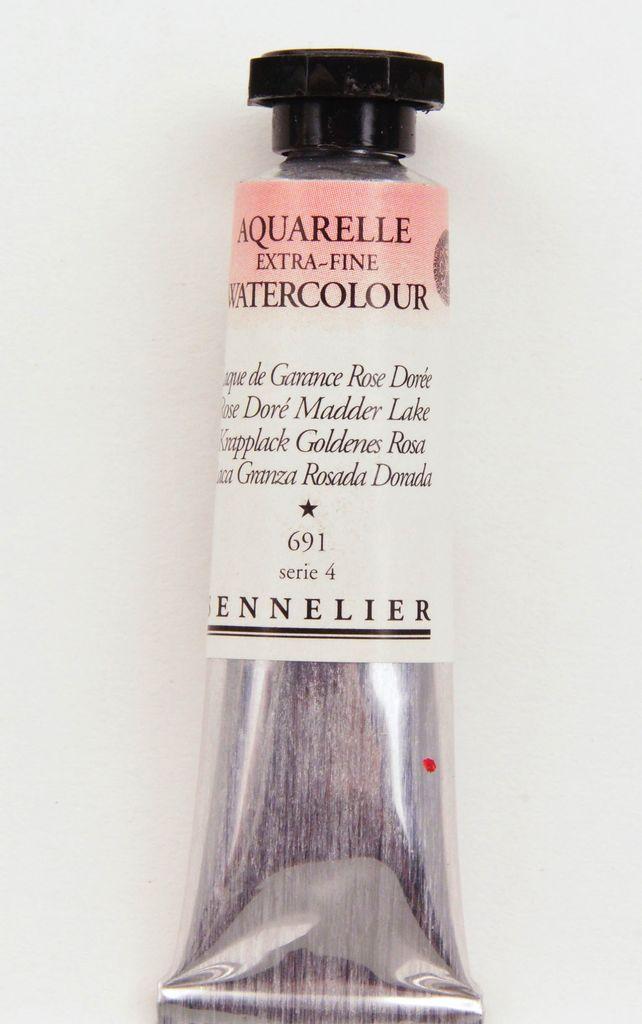 France Sennelier, Aquarelle Watercolor Paint, Rose Dore Madder Lake, 691,10ml Tube, Series 4