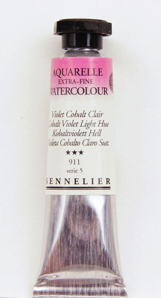 France Sennelier, Aquarelle Watercolor Paint, Cobalt Violet Light Hue, 911,10ml Tube, Series 5