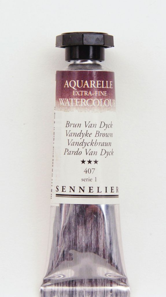 France Sennelier, Aquarelle Watercolor Paint, Vandyke Brown, 407,10ml Tube, Series 1