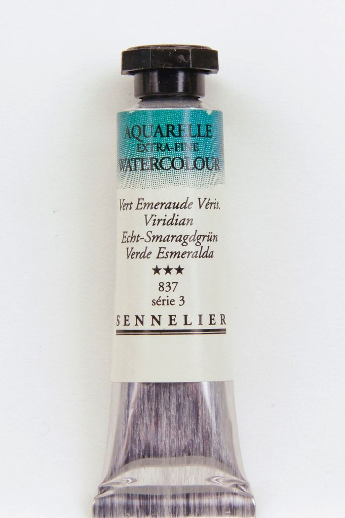 France Sennelier, Aquarelle Watercolor Paint, Viridian, 837,10ml Tube, Series 5