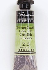 France Sennelier, Aquarelle Watercolor Paint, Green Earth, 213,10ml Tube, Series 1