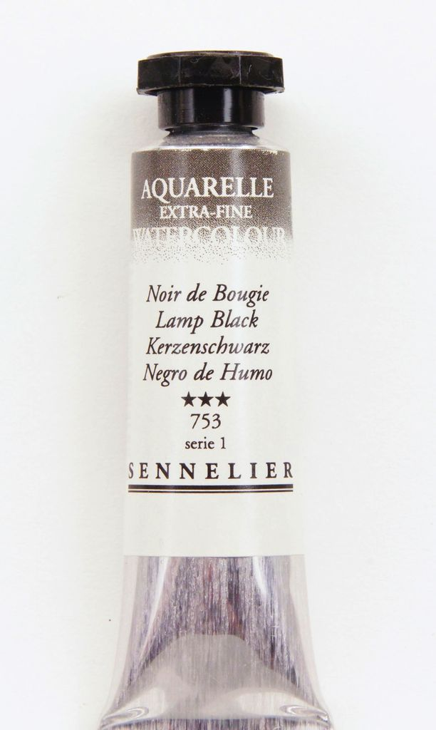 France Sennelier, Aquarelle Watercolor Paint, Lamp Black, 753,10ml Tube, Series 1