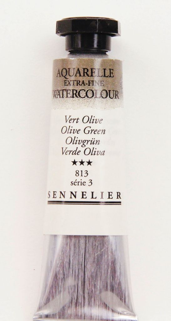 France Sennelier, Aquarelle Watercolor Paint, Olive Green, 813,10ml Tube, Series 3