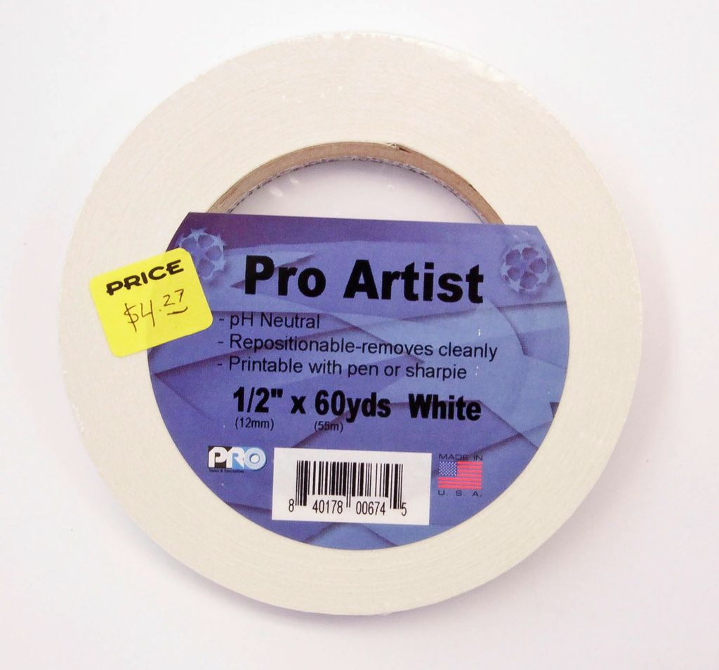 "Artist Tape, White, 0.5"" X 60 yards"