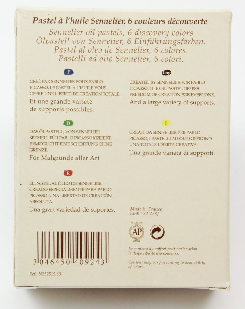 France Sennelier, Discovery Oil Pastel Cardboard Set of 6