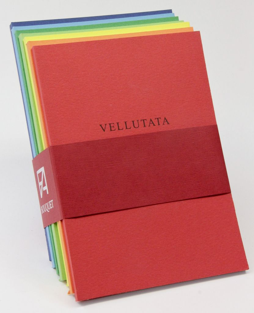 Italy Fabriano Bouquet, 7 journals with 7 different senses of paper: Velvety, Parchment, Embossed, Laid, Ecological, Natural, Felt Marked