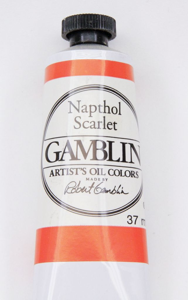 Domestic Gamblin Oil Paint, Napthol Scarlet, Series 2, Tube 37ml<br /> List Price: 12.95
