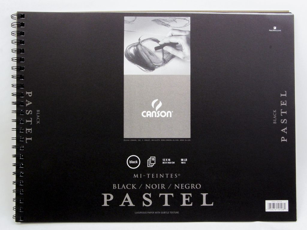 "Domestic Canson Pastel Black Mi-Teintes Sketch Book 12"" X 16""  16 pages"
