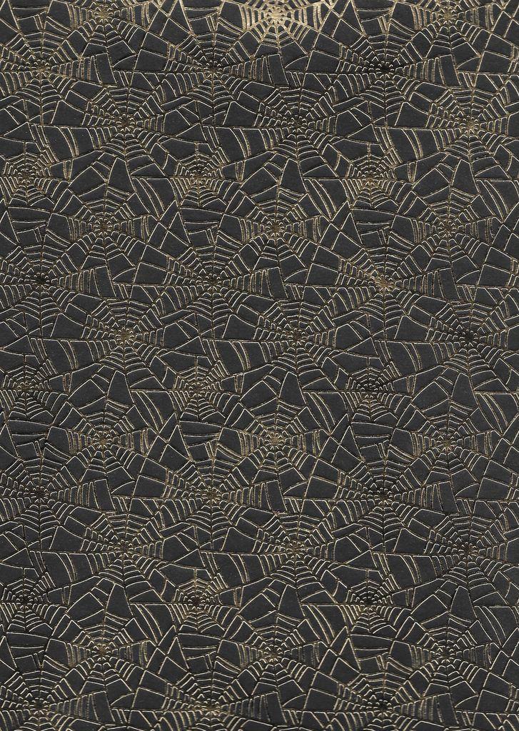 "India Spider Web, Gold Foil on Black, 22"" x 30"""