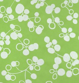 "Thailand Ginkgo Fruit, Apple Green with White, Mulberry Screenprint, 25"" x 37"""