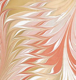 "India Indian Marble, Orange, Mustard, Lavender on Natural, Feather Design, 22"" x 30"""