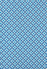 """India Moroccan Circle Design, Blue, Gold, on White, 22"""" x 30""""  200 gsm"""