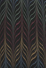 """India Indian Marble, Metallic Red, Yellow, Green, Blue on Black, Long Feather, 22"""" x 30"""""""
