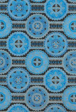 "India Indian Flower Mandalas on Ribbons with Blue, Gold Lines, on Black, 22"" x 30"""