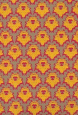 """India Castle Wallpaper, Yellow, Red on Grey Brown, 22"""" x 30"""""""