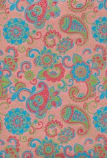 "India Paisley and Blooms, Blue, Green, Red and Gold on Pink, 22"" x 30"""