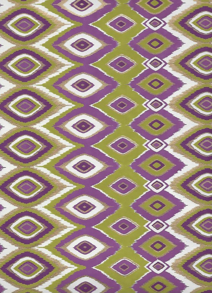 "India Diamond Feather Design, Olive, Purple and Gold on White, 22"" x 30"""