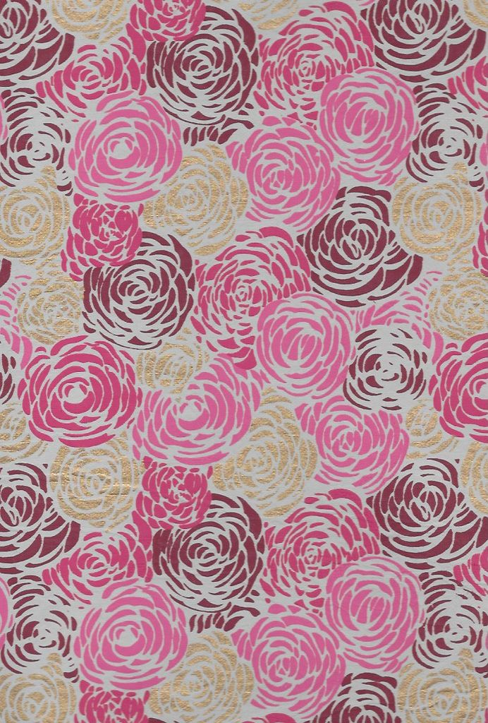 """India Red Roses on Natural with Pink, Burgundy and Gold, 22"""" x 30"""""""