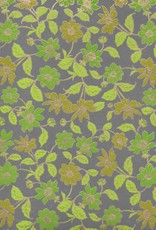 "India Wildflowers Green, Green, Lime, Moss on Grey, 22"" x 30"""