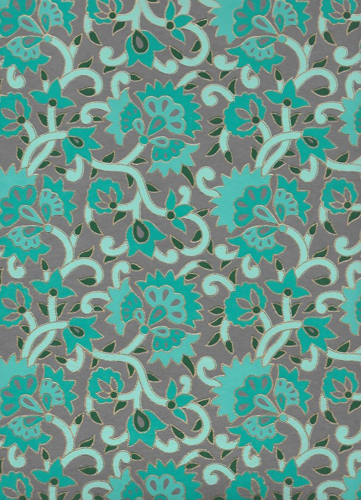 """India Fire Flowers and Ivy, Blue, Teal, and Gold Lines on Grey, 22"""" x 30"""" Limited Quantities"""