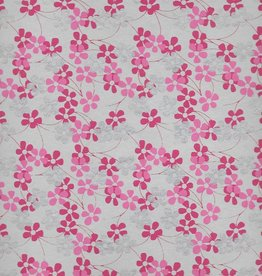 "India Forget-Me-Nots, Silver, Pink, Dark Pink, on Natural, 22"" x 30"""