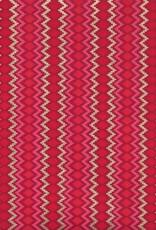 "India Diamond Rug Design, Red, Orange, Gold on Red, 22"" x 30"""