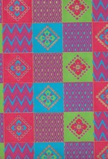 "India Indian Quilt Squares with Flowers, Red, Blue, Green on Magenta, 22"" x 30"""