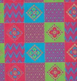 """India Indian Quilt Squares with Flowers, Red, Blue, Green on Magenta, 22"""" x 30"""""""