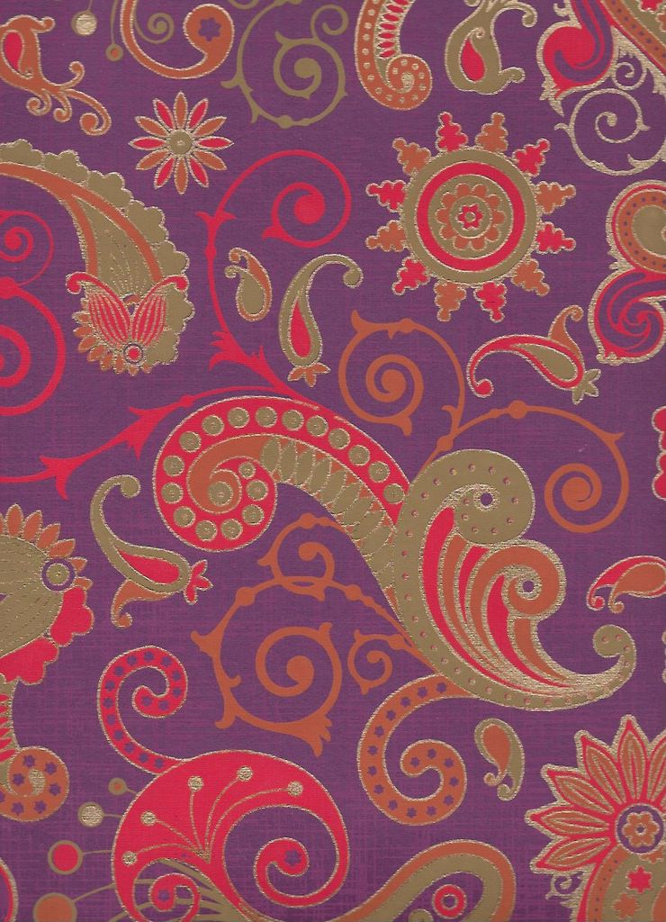 "India Sixties Psychedelic Paislies, Red, Orange, Mustard, Gold on Purple, 22"" x 30"""
