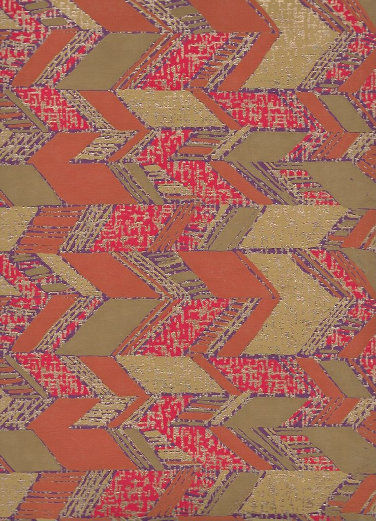 """India Abstract Parallelograms, Orange, Mustard, Red, Gold, on Purple, 22"""" x 30"""""""