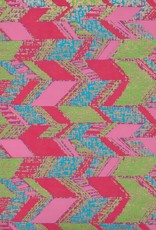 "India Abstract Parallelograms, Pink, Red, Lime, Blue on Magenta, 22"" x 30"""
