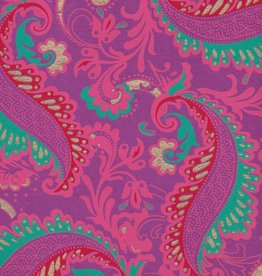 "India Sixties Psychedelic Paislies, Turquoise, Pink, Red, Gold on Purple, 22"" x 30"""