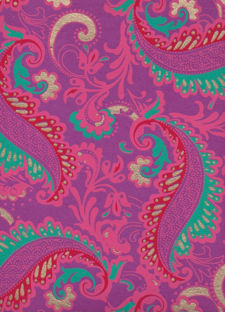 "India Sixties Psychedelic Paisley Flower, Turquoise, Pink, Red, Gold on Purple, 22"" x 30"""