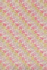 "India Swirly Rose, Orange, Lilac, Mustard, Gold on Natural, 22"" x 30"""