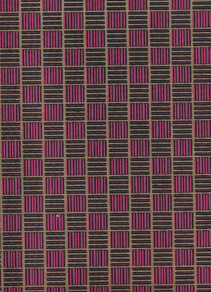 "India Hatch Squares, Purple, Pink, Gold on Black, 22"" x 30"""