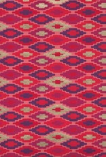 "India Southwestern Quilt Pattern, Red, Orange, Purple, Gold on Peach, 22"" x 30"""