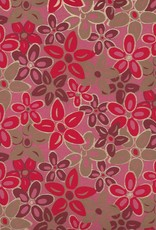 "India Magnolias, Red, Burgundy, Gold on Pink, 22"" x 30"""