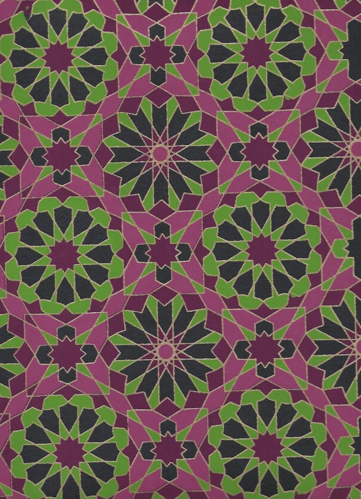 """India Star Mosaics, Green, Purple with Gold Lines on Navy, 22"""" x 30"""""""