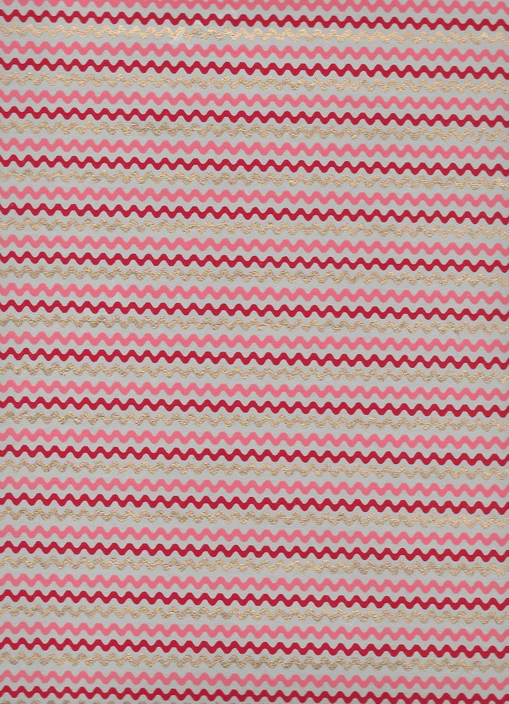 """India Wavy Zig Zag Stripes, Red, Pink, Gold on Natural, 22"""" x 30"""""""