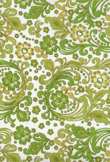 """India Seventies Paisley Wallpaper, Olive, Green, Mustard on White, 22"""" x 30"""""""